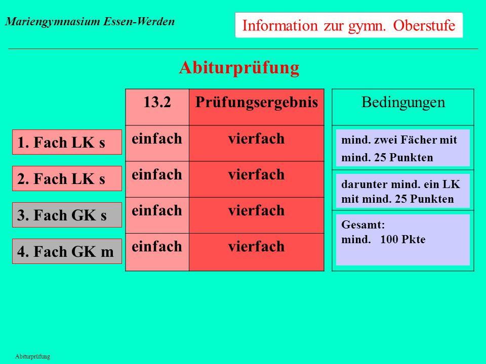 Information zur gymn. Oberstufe Abiturprüfung 1. Fach LK s 13.2Prüfungsergebnis einfachvierfach einfachvierfach einfachvierfach einfachvierfach 2. Fac