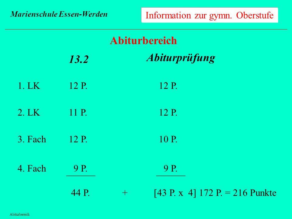 Information zur gymn. Oberstufe Marienschule Essen-Werden Abiturbereich 13.2 1. LK 2. LK 3. Fach 4. Fach 12 P. 11 P. 12 P. 9 P. ______ 44 P. Abiturprü