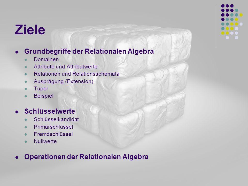 Ziele Grundbegriffe der Relationalen Algebra Domainen Attribute und Attributwerte Relationen und Relationsschemata Ausprägung (Extension) Tupel Beispi