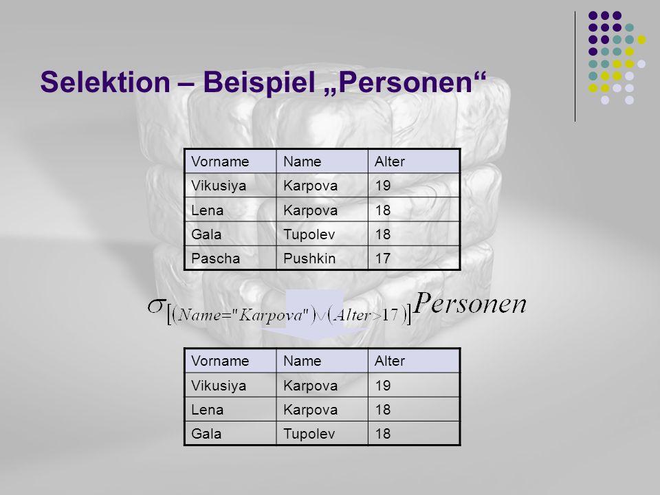Selektion – Beispiel Personen VornameNameAlter VikusiyaKarpova19 LenaKarpova18 GalaTupolev18 PaschaPushkin17 VornameNameAlter VikusiyaKarpova19 LenaKa