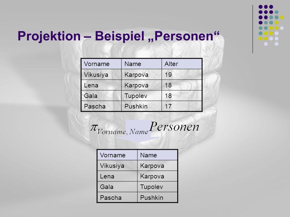 Projektion – Beispiel Personen VornameNameAlter VikusiyaKarpova19 LenaKarpova18 GalaTupolev18 PaschaPushkin17 VornameName VikusiyaKarpova LenaKarpova