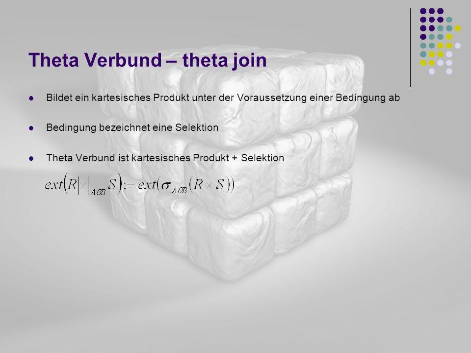 Theta Verbund – theta join Bildet ein kartesisches Produkt unter der Voraussetzung einer Bedingung ab Bedingung bezeichnet eine Selektion Theta Verbun