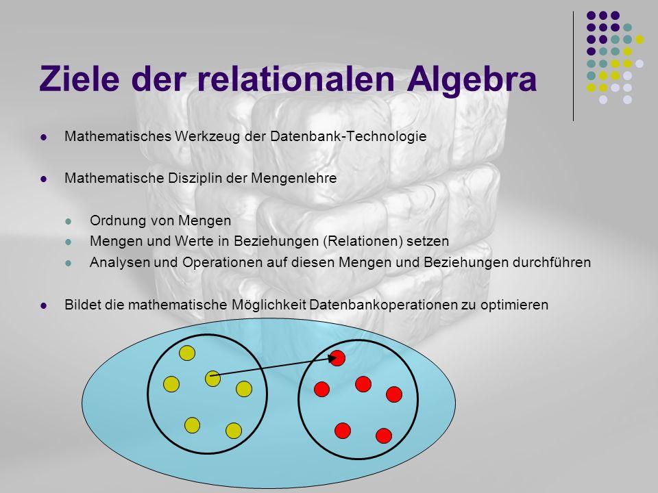 Ziele der relationalen Algebra Mathematisches Werkzeug der Datenbank-Technologie Mathematische Disziplin der Mengenlehre Ordnung von Mengen Mengen und