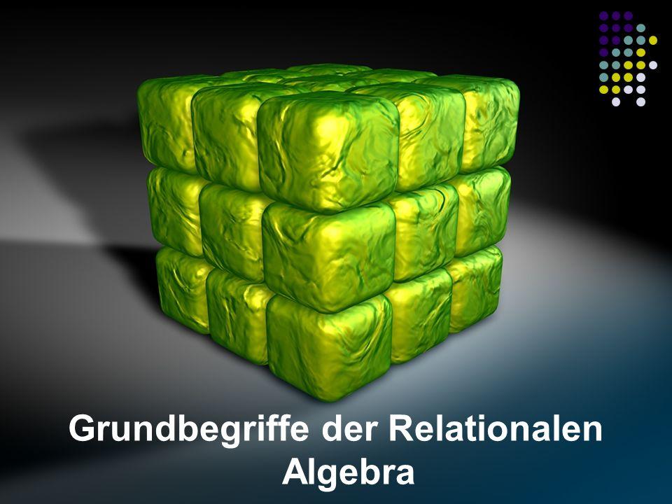 Mengen als Grundlage Mengen sind Sammlungen von Daten Mengen bezeichnen keine Strukturierung von Daten Mengen setzen Daten nicht in Relationen zueinander Es gilt die Daten in Mengen zu definieren Relationen werden über definierte Beziehungen zwischen den Mengen realisiert