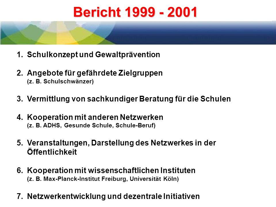 Bericht 1999 - 2001 1.Schulkonzept und Gewaltprävention 2.Angebote für gefährdete Zielgruppen (z.