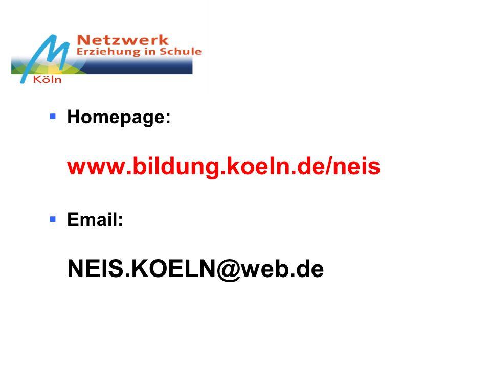 Homepage: www.bildung.koeln.de/neis Email: NEIS.KOELN@web.de