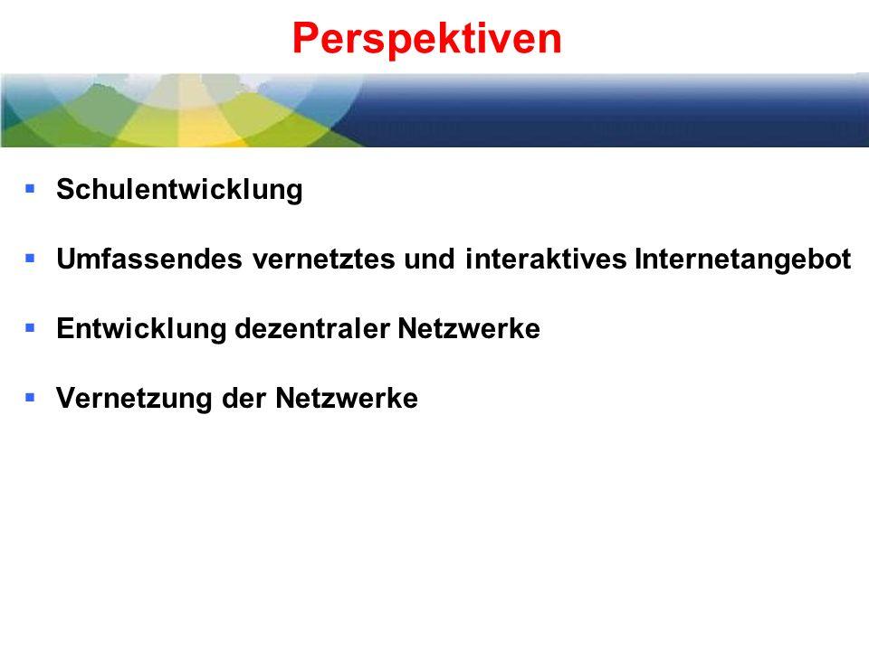 Perspektiven Schulentwicklung Umfassendes vernetztes und interaktives Internetangebot Entwicklung dezentraler Netzwerke Vernetzung der Netzwerke
