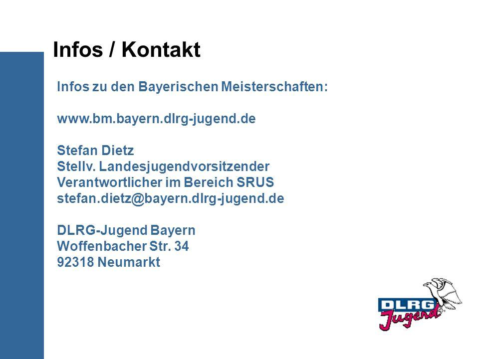 Infos / Kontakt Infos zu den Bayerischen Meisterschaften: www.bm.bayern.dlrg-jugend.de Stefan Dietz Stellv. Landesjugendvorsitzender Verantwortlicher