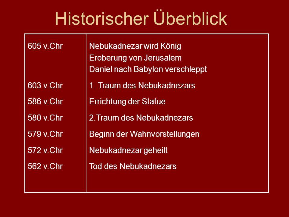 Historischer Überblick 605 v.Chr 603 v.Chr 586 v.Chr 580 v.Chr 579 v.Chr 572 v.Chr 562 v.Chr Nebukadnezar wird König Eroberung von Jerusalem Daniel nach Babylon verschleppt 1.