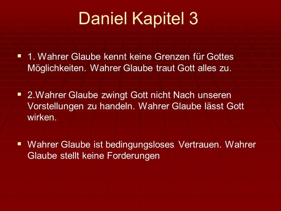 Daniel Kapitel 3 1. Wahrer Glaube kennt keine Grenzen für Gottes Möglichkeiten. Wahrer Glaube traut Gott alles zu. 2.Wahrer Glaube zwingt Gott nicht N