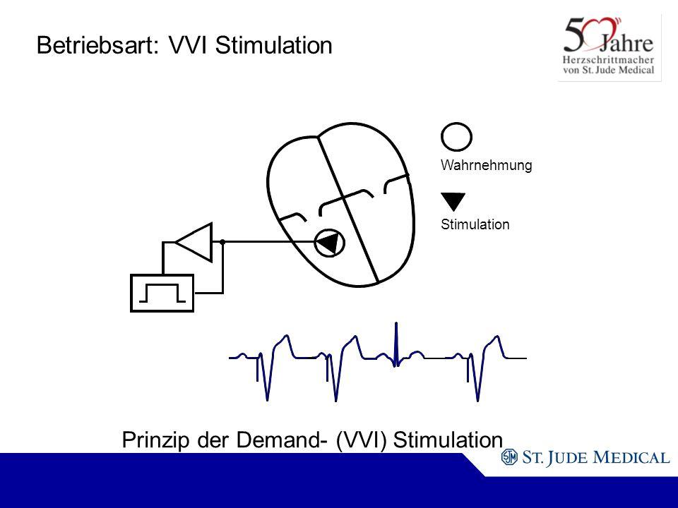 Wahrnehmung Stimulation Prinzip der Demand- (VVI) Stimulation Betriebsart: VVI Stimulation