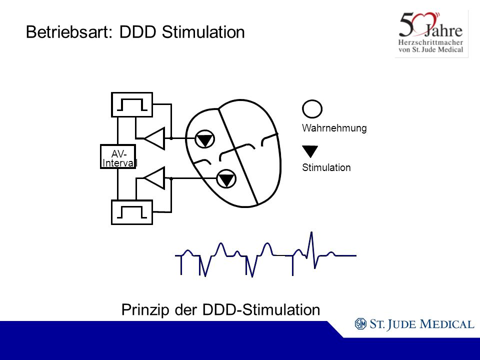 AV- Intervall Wahrnehmung Stimulation Prinzip der DDD-Stimulation Betriebsart: DDD Stimulation