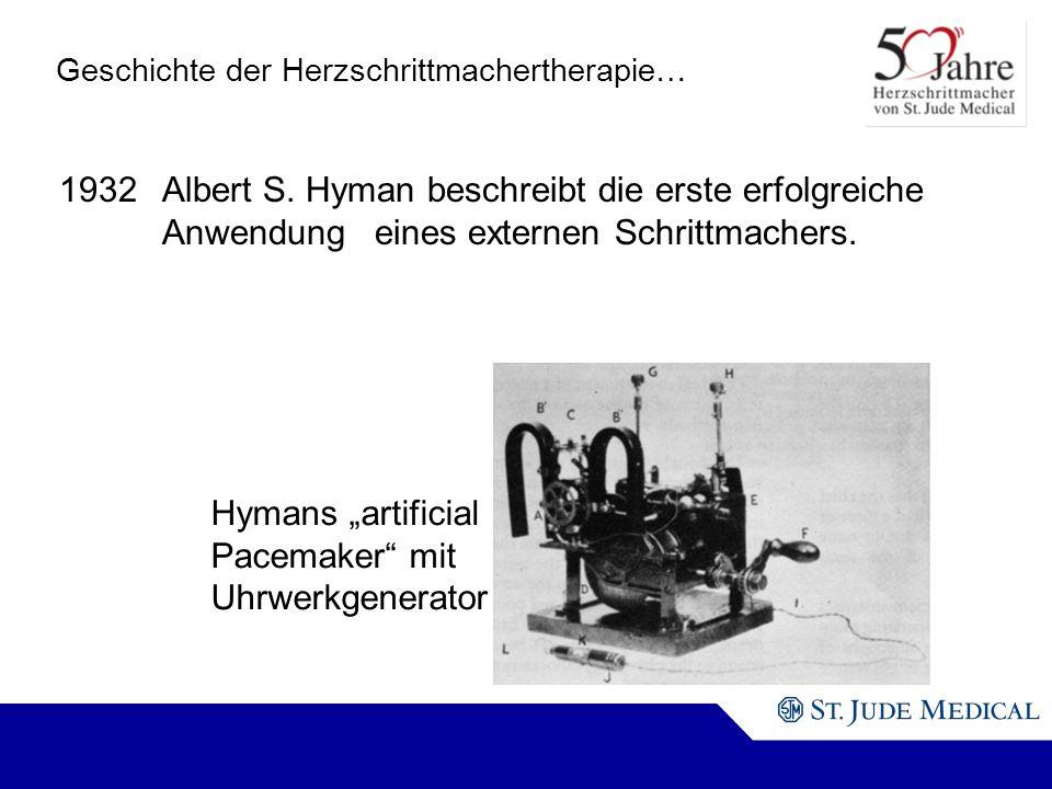 Hymans artificial Pacemaker mit Uhrwerkgenerator Geschichte der Herzschrittmachertherapie… 1932Albert S.