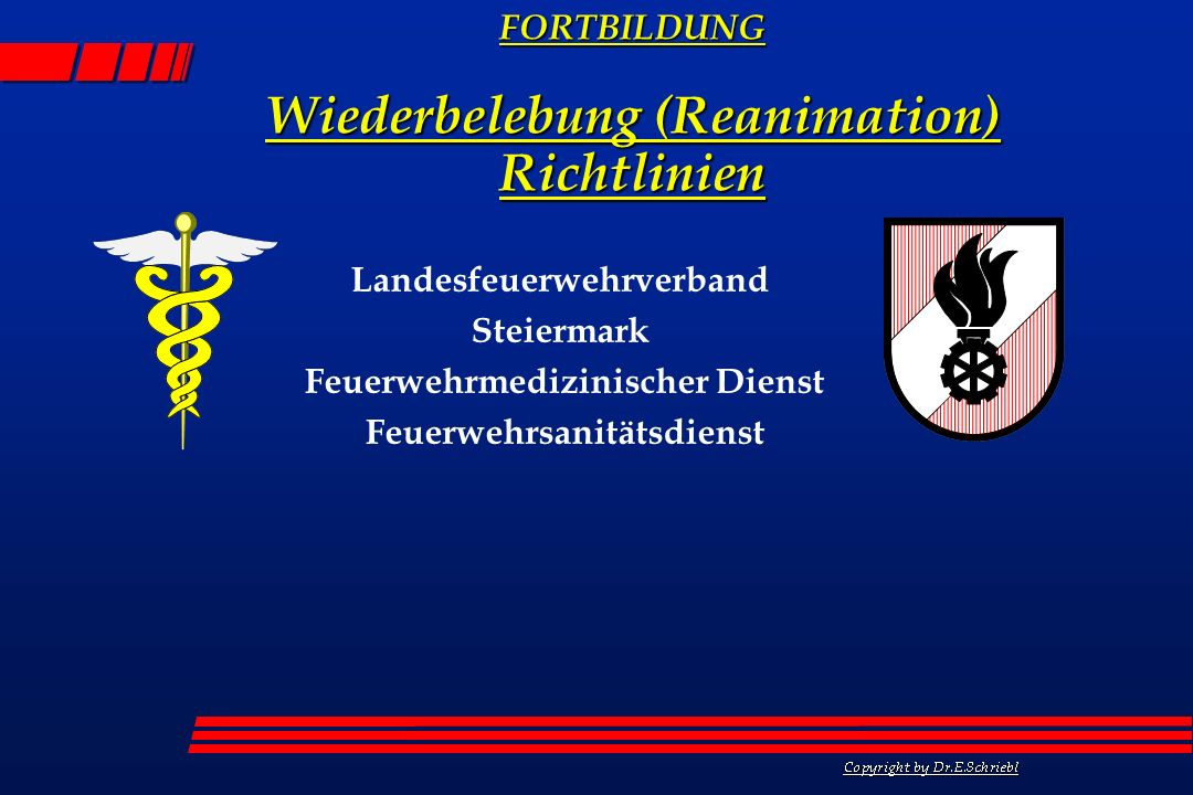 Landesfeuerwehrverband Steiermark Feuerwehrmedizinischer Dienst Feuerwehrsanitätsdienst FORTBILDUNG Wiederbelebung (Reanimation) Richtlinien
