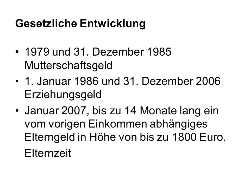 Gesetzliche Entwicklung 1979 und 31.Dezember 1985 Mutterschaftsgeld 1.