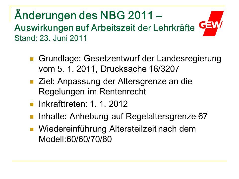 Änderungen des NBG 2011 – Auswirkungen auf Arbeitszeit der Lehrkräfte Stand: 23. Juni 2011 Grundlage: Gesetzentwurf der Landesregierung vom 5. 1. 2011