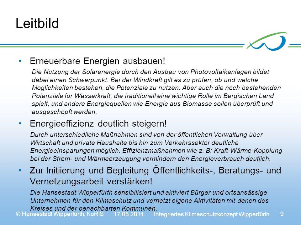 © Hansestadt Wipperfürth, KoRiS 17.05.2014 Integriertes Klimaschutzkonzept Wipperfürth 9 Leitbild Erneuerbare Energien ausbauen.