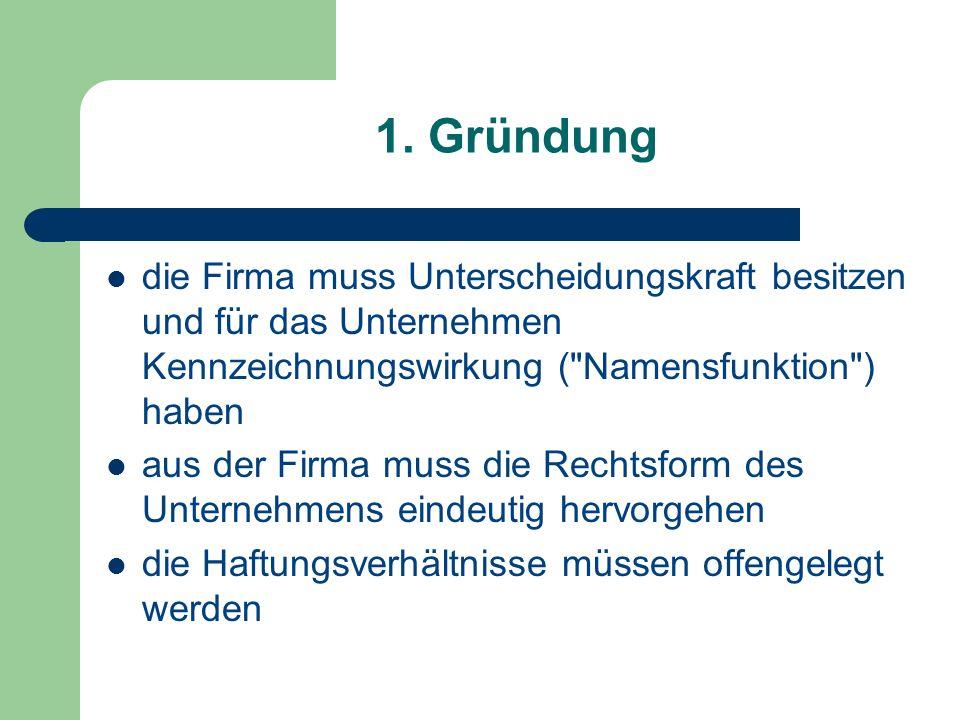 1. Gründung die Firma muss Unterscheidungskraft besitzen und für das Unternehmen Kennzeichnungswirkung (