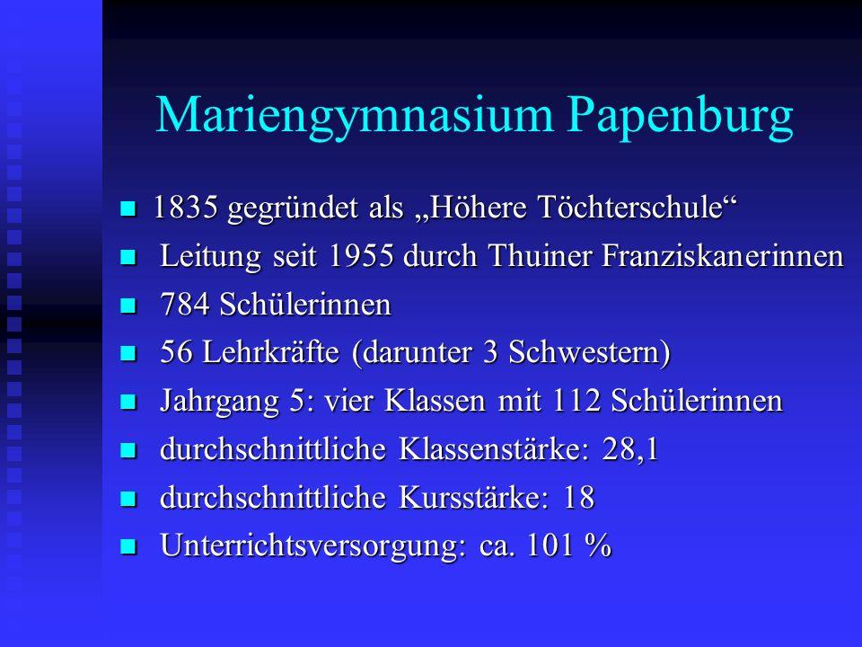 Mariengymnasium Papenburg 1835 gegründet als Höhere Töchterschule 1835 gegründet als Höhere Töchterschule Leitung seit 1955 durch Thuiner Franziskaner