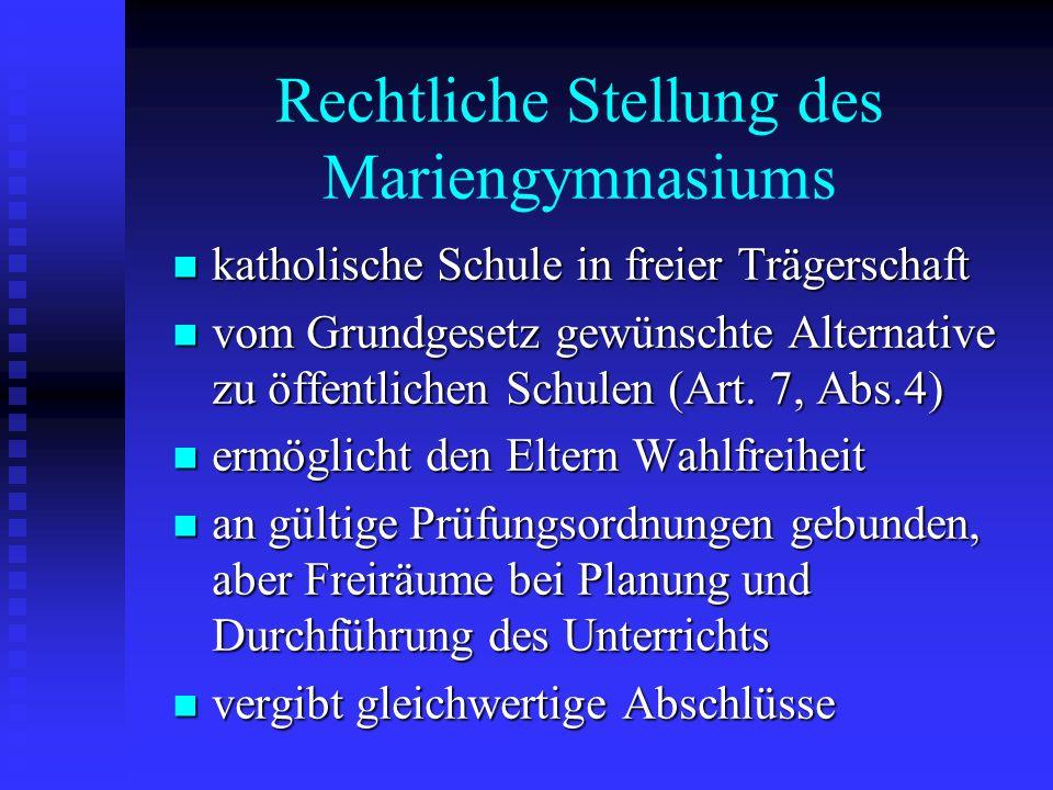 Rechtliche Stellung des Mariengymnasiums katholische Schule in freier Trägerschaft katholische Schule in freier Trägerschaft vom Grundgesetz gewünscht