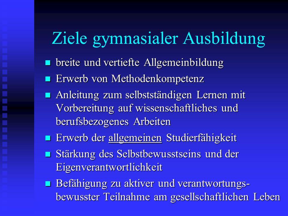 Ziele gymnasialer Ausbildung breite und vertiefte Allgemeinbildung breite und vertiefte Allgemeinbildung Erwerb von Methodenkompetenz Erwerb von Metho
