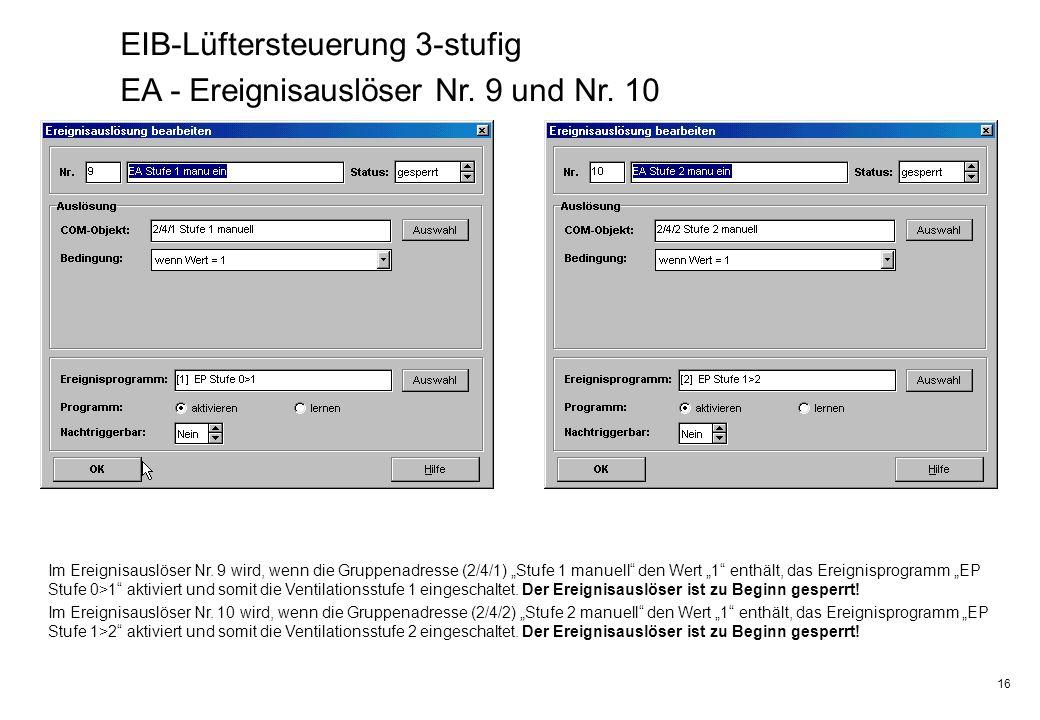 16 EIB-Lüftersteuerung 3-stufig EA - Ereignisauslöser Nr. 9 und Nr. 10 Im Ereignisauslöser Nr. 9 wird, wenn die Gruppenadresse (2/4/1) Stufe 1 manuell