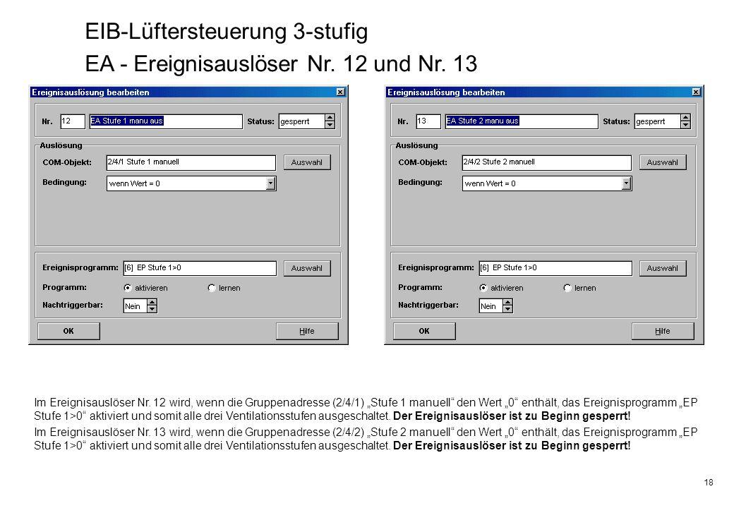 18 EIB-Lüftersteuerung 3-stufig EA - Ereignisauslöser Nr. 12 und Nr. 13 Im Ereignisauslöser Nr. 12 wird, wenn die Gruppenadresse (2/4/1) Stufe 1 manue