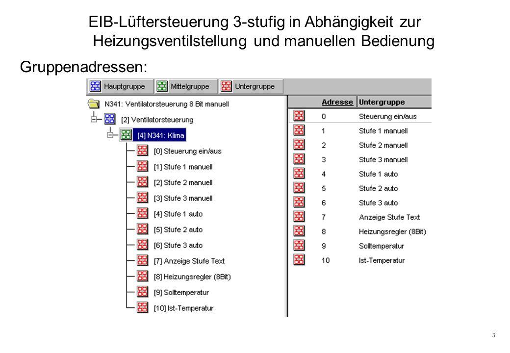 3 EIB-Lüftersteuerung 3-stufig in Abhängigkeit zur Heizungsventilstellung und manuellen Bedienung Gruppenadressen: