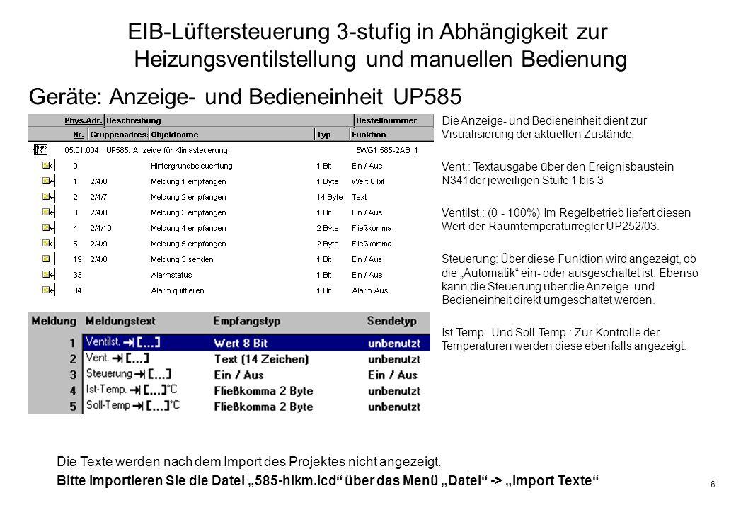6 EIB-Lüftersteuerung 3-stufig in Abhängigkeit zur Heizungsventilstellung und manuellen Bedienung Geräte: Anzeige- und Bedieneinheit UP585 Die Anzeige