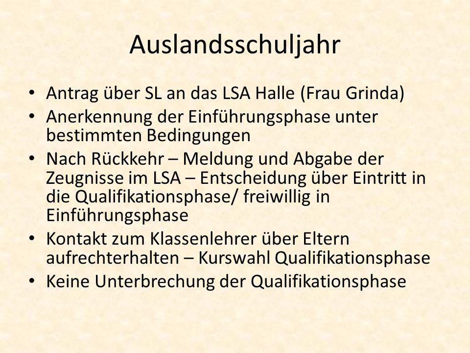 Auslandsschuljahr Antrag über SL an das LSA Halle (Frau Grinda) Anerkennung der Einführungsphase unter bestimmten Bedingungen Nach Rückkehr – Meldung