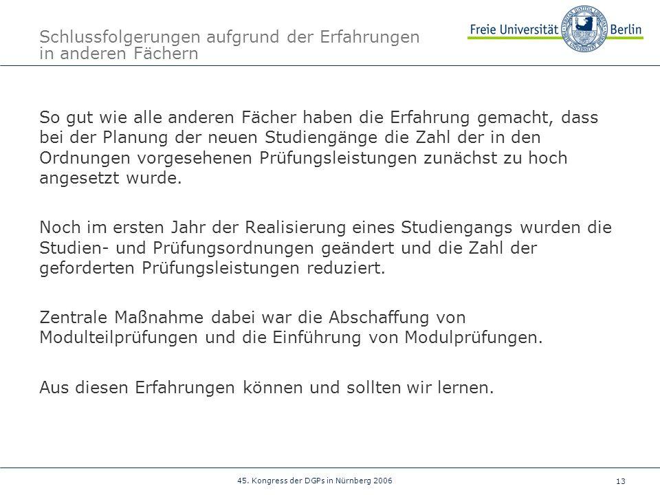 13 45. Kongress der DGPs in Nürnberg 2006 Schlussfolgerungen aufgrund der Erfahrungen in anderen Fächern So gut wie alle anderen Fächer haben die Erfa
