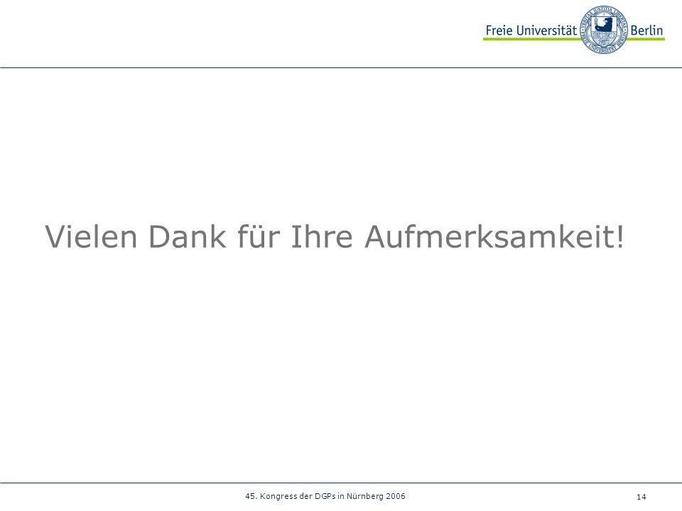 14 45. Kongress der DGPs in Nürnberg 2006 Vielen Dank für Ihre Aufmerksamkeit!