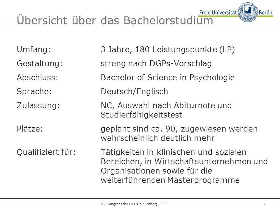 2 45. Kongress der DGPs in Nürnberg 2006 Übersicht über das Bachelorstudium Umfang:3 Jahre, 180 Leistungspunkte (LP) Gestaltung:streng nach DGPs-Vorsc