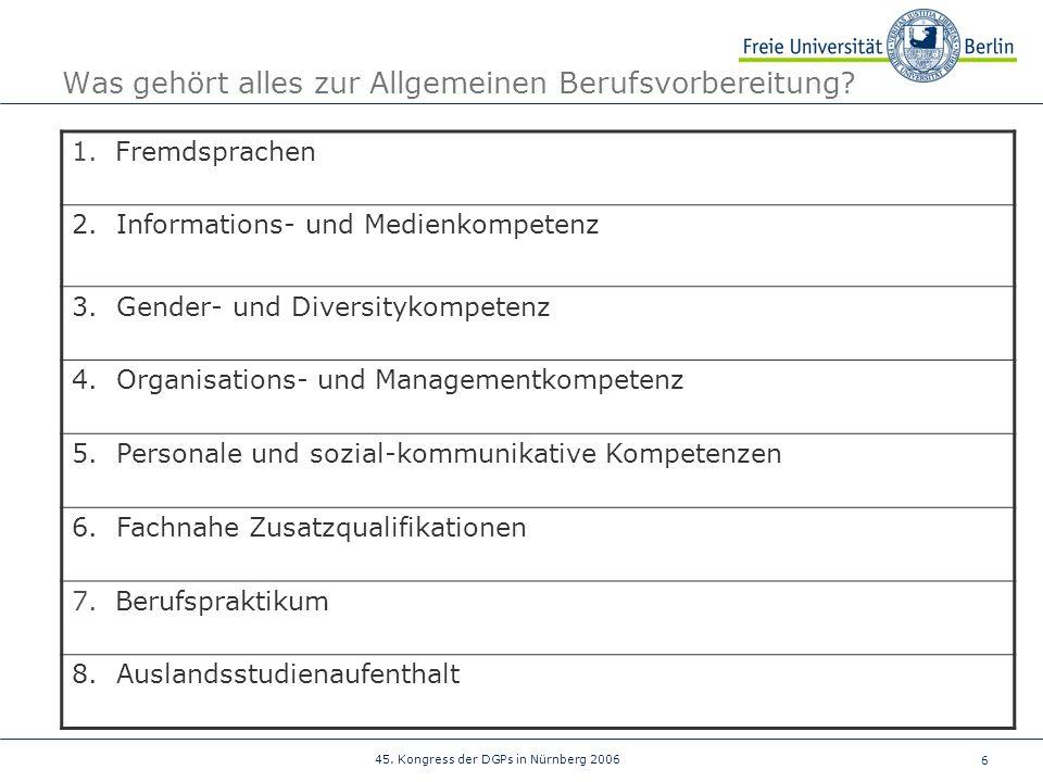 6 45. Kongress der DGPs in Nürnberg 2006 Was gehört alles zur Allgemeinen Berufsvorbereitung? 1. Fremdsprachen 2. Informations- und Medienkompetenz 3.