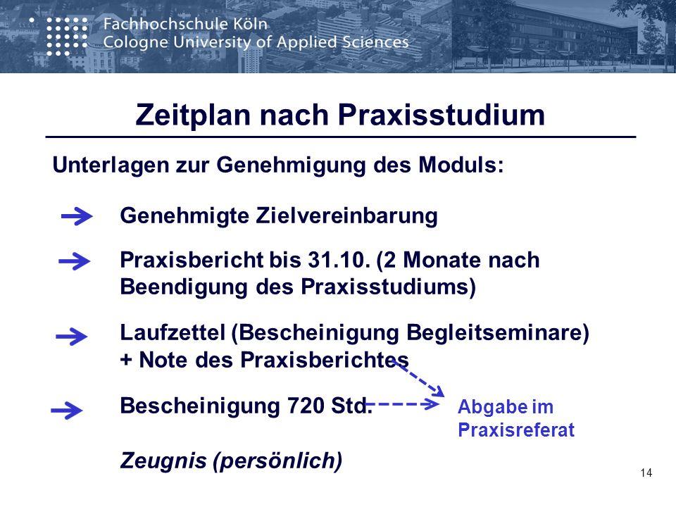 Zeitplan nach Praxisstudium Unterlagen zur Genehmigung des Moduls: Genehmigte Zielvereinbarung Praxisbericht bis 31.10. (2 Monate nach Beendigung des