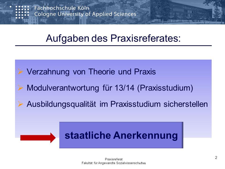 Verzahnung von Theorie und Praxis Modulverantwortung für 13/14 (Praxisstudium) Ausbildungsqualität im Praxisstudium sicherstellen staatliche Anerkennu