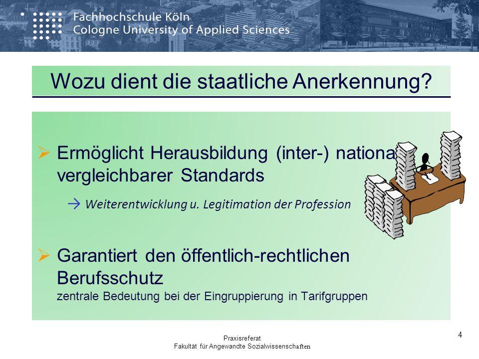 Wozu dient die staatliche Anerkennung? Ermöglicht Herausbildung (inter-) national vergleichbarer Standards Weiterentwicklung u. Legitimation der Profe
