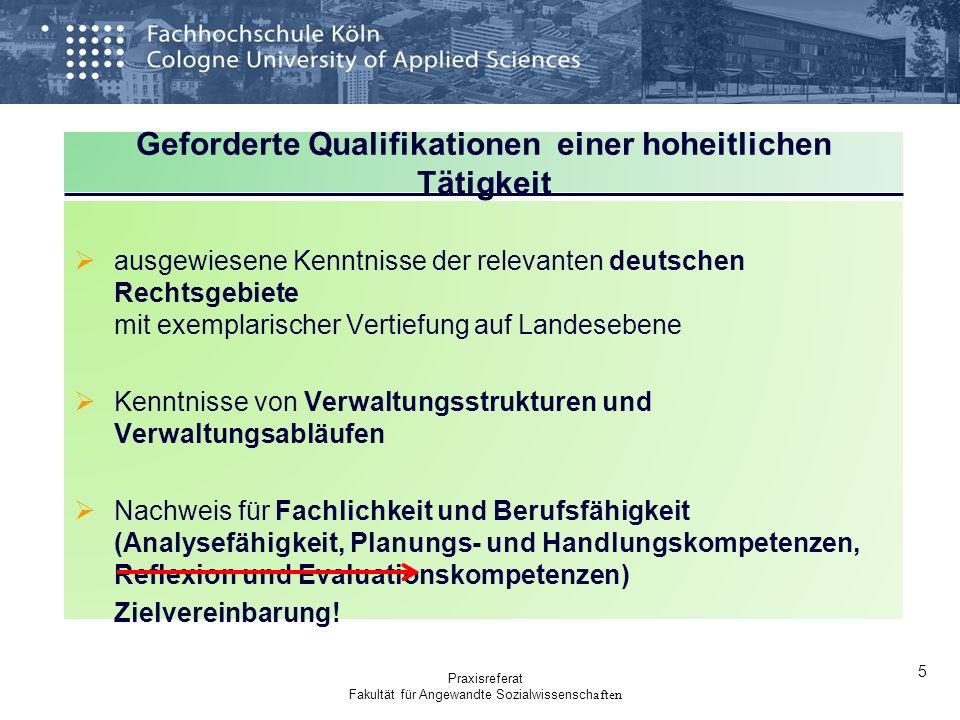 Geforderte Qualifikationen einer hoheitlichen Tätigkeit ausgewiesene Kenntnisse der relevanten deutschen Rechtsgebiete mit exemplarischer Vertiefung a