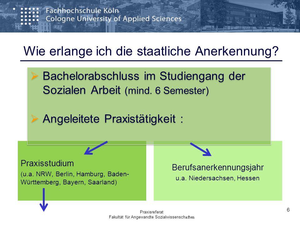 Wie erlange ich die staatliche Anerkennung? Praxisstudium (u.a. NRW, Berlin, Hamburg, Baden- Württemberg, Bayern, Saarland) Berufsanerkennungsjahr u.a