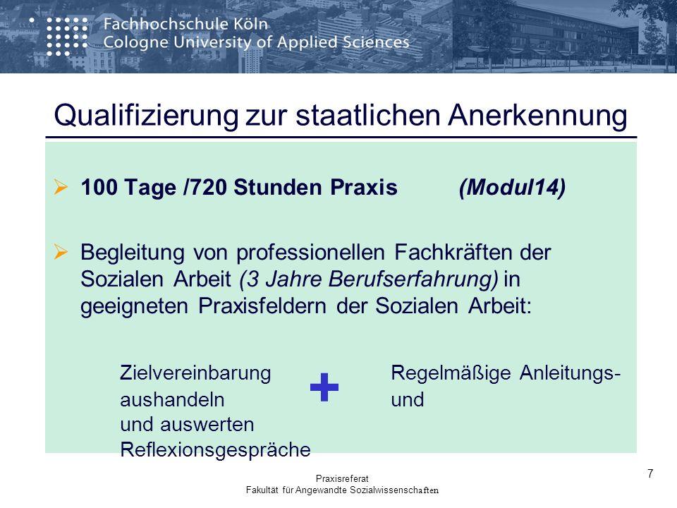 Qualifizierung zur staatlichen Anerkennung 100 Tage /720 Stunden Praxis (Modul14) Begleitung von professionellen Fachkräften der Sozialen Arbeit (3 Ja
