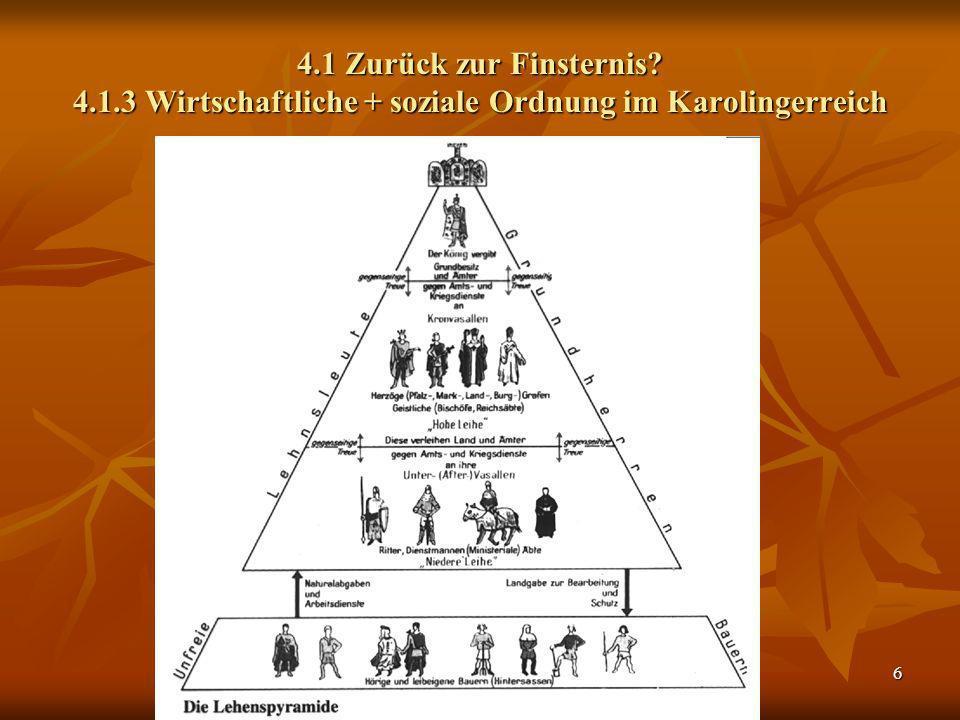 6 4.1 Zurück zur Finsternis? 4.1.3 Wirtschaftliche + soziale Ordnung im Karolingerreich