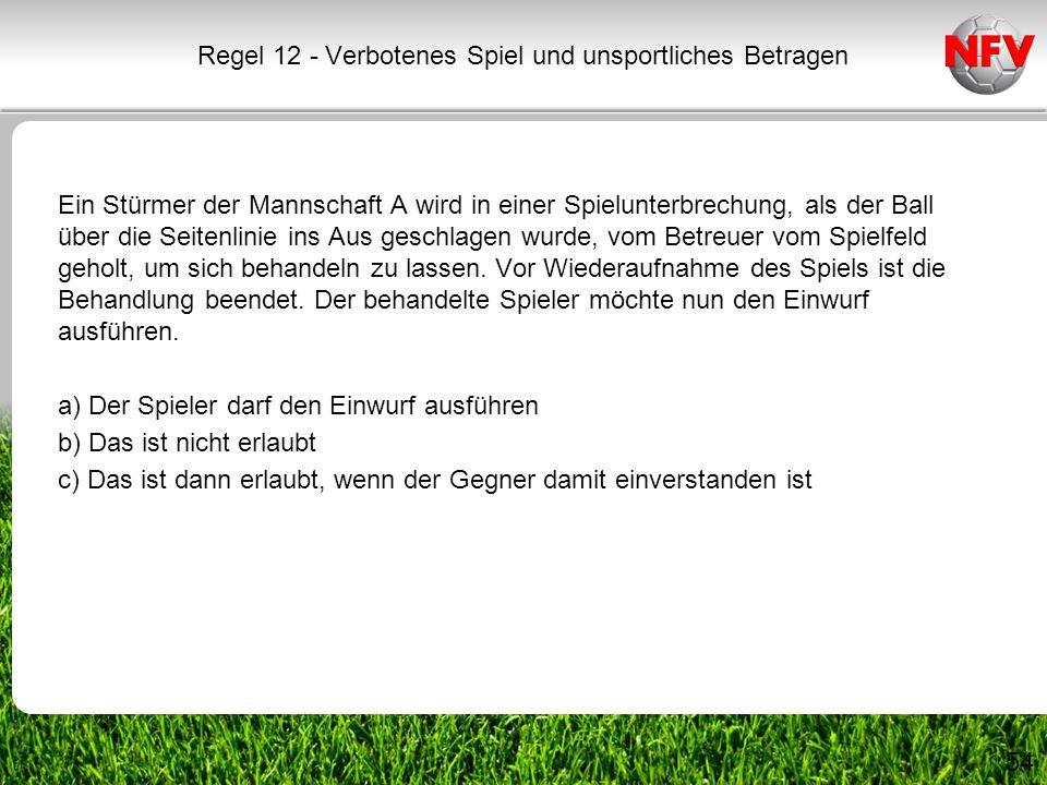 54 Ein Stürmer der Mannschaft A wird in einer Spielunterbrechung, als der Ball über die Seitenlinie ins Aus geschlagen wurde, vom Betreuer vom Spielfe