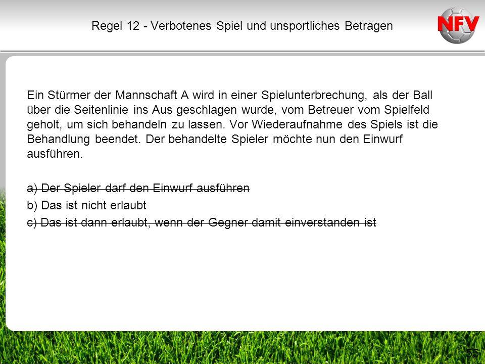 55 Ein Stürmer der Mannschaft A wird in einer Spielunterbrechung, als der Ball über die Seitenlinie ins Aus geschlagen wurde, vom Betreuer vom Spielfe