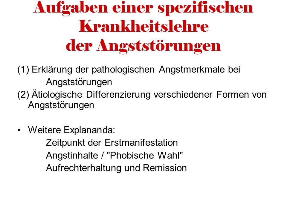 Aufgaben einer spezifischen Krankheitslehre der Angststörungen (1) Erklärung der pathologischen Angstmerkmale bei Angststörungen (2) Ätiologische Diff
