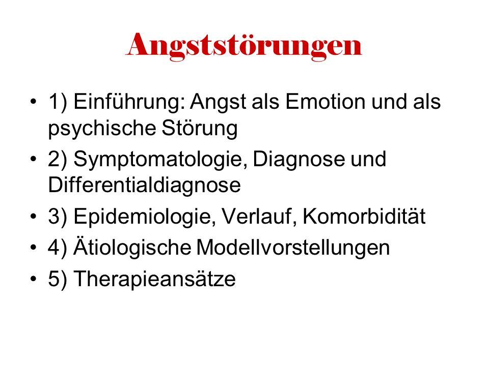 Angststörungen 1) Einführung: Angst als Emotion und als psychische Störung 2) Symptomatologie, Diagnose und Differentialdiagnose 3) Epidemiologie, Ver