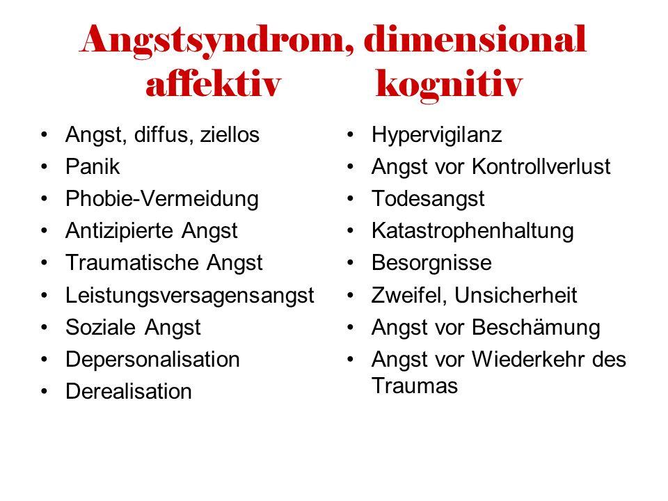Angstsyndrom, dimensional affektiv kognitiv Angst, diffus, ziellos Panik Phobie-Vermeidung Antizipierte Angst Traumatische Angst Leistungsversagensang