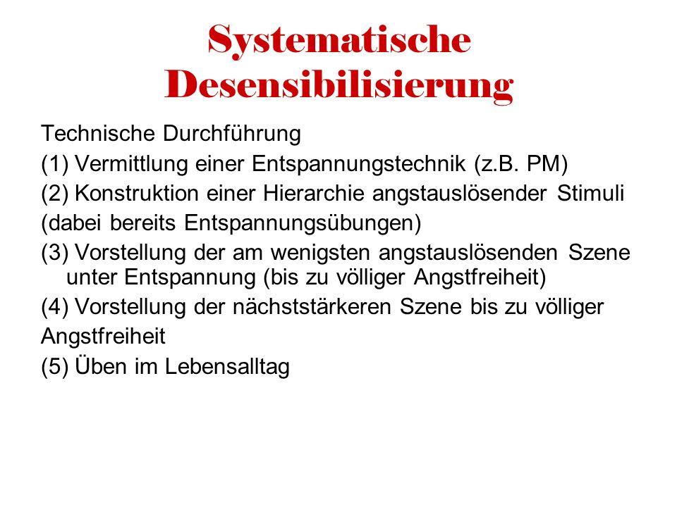 Systematische Desensibilisierung Technische Durchführung (1) Vermittlung einer Entspannungstechnik (z.B. PM) (2) Konstruktion einer Hierarchie angstau