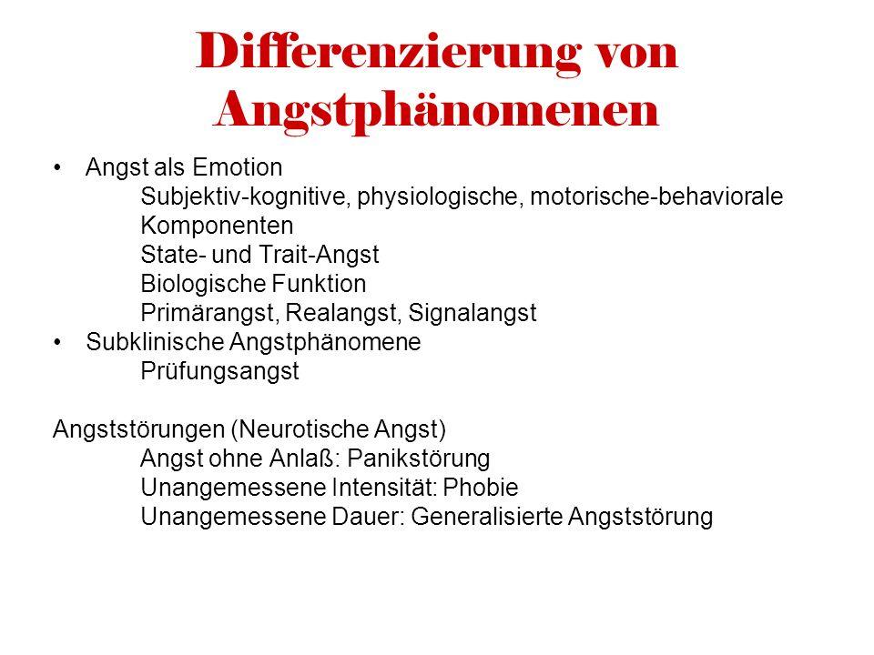 Differenzierung von Angstphänomenen Angst als Emotion Subjektiv-kognitive, physiologische, motorische-behaviorale Komponenten State- und Trait-Angst B