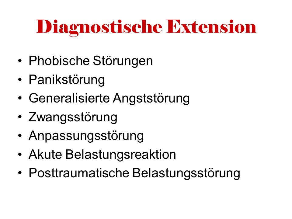 Diagnostische Extension Phobische Störungen Panikstörung Generalisierte Angststörung Zwangsstörung Anpassungsstörung Akute Belastungsreaktion Posttrau