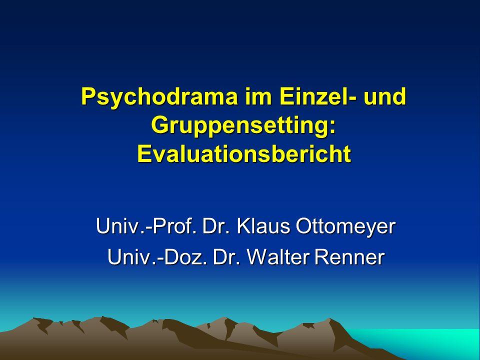 Ziel der Studie war es, die Effizienz von Psychodrama zu überprüfen hinsichtlich einer dauerhaften Veränderung => der klinischen Symptomatik (z.